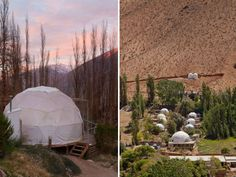 Stargazing hotel, Elqui Domos in Chile's Andes Mountains designed by Santiago-based RDM Arquitectura. Wooden cabins and geodesic domes.