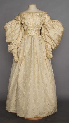 BROCADE WEDDING GOWN, BRIDGEHAMPTON, L.I., 1830s