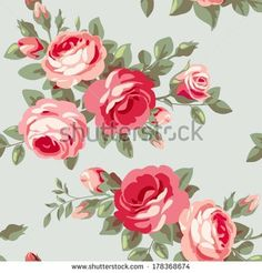 Wallpaper with flowers - stock vector
