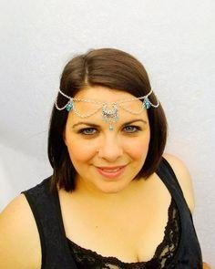Silver Moon Circlet, Bridal Hair, Silver Renaissance Circlet with Aqua Gem Accents, Medieval Headpiece