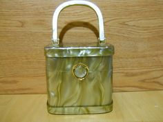 Vintage STYLECRAFT MIAMI golden swirl Pearlized LUCITE Hard Box Purse