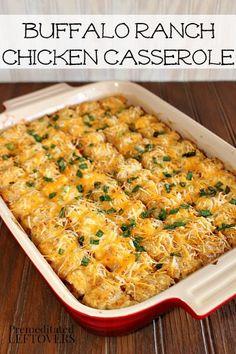 Buffalo Ranch Chicken Casserole Recipe - An easy casserole recipe using Tater Tots, Chicken, Hot Sauce and Ranch Dressing.