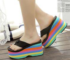 0f8d7b492e New High Heels Platform Pumps Beach Rainbow Sole Flip Flops shoes Wedges  Sandals Sapatos De Cunha