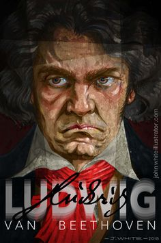 A portrait of Ludwig Van Beethoven. Painted in monochrome on primed board, and digitally coloured, by Irish illustrator John White x / Classical Music, Art Music, Paint Colors, Monochrome, Pop Culture, Cool Photos, Van, Composers, Illustration