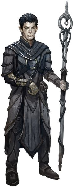 Ascaros, cleric of Zon-Kuthon in the Pathfinder RPG. The costume design here is pretty spot-on for a cleric. Layered robes, simple walking boots, an ornate staff and an injured arm.
