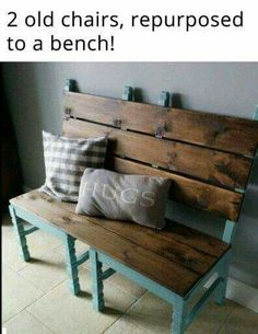 2 chairs made into a bench