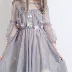 Lantern Sleeve Net Skirt Two-piece Set Gauze Dress, Tulle Dress, Dress Skirt, Pretty Dresses, Beautiful Dresses, Gala Dresses, Aesthetic Clothes, Skirt Outfits, Korean Fashion