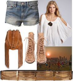 Denium Shorts Go to Festival, created by shaley1 on Polyvore