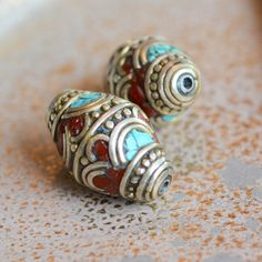 Tibetan Bicone Beads, Gorgeous Turquoise Coral Inlay, Beautifully Made, Tibetan Silver, Whitemetal Beads,Tibetan Beads,Nepalese Bicone Beads by WanderlustWorldArts on Etsy