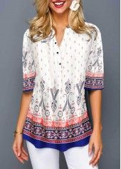 Tops For Women Half Button Split Neck Tribal Print Blouse Stylish Tops For Girls, Trendy Tops For Women, Blouses For Women, Women's Blouses, Formal Blouses, White Blouses, Vestido Casual, Fashion Outfits, Womens Fashion