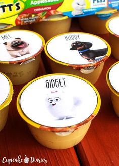 The Secret Life of Pets Printable Applesauce Cup Toppers - staci is - loldolls Birthday Party Snacks, 6th Birthday Parties, Fourth Birthday, Boy Birthday, Birthday Ideas, Secret Life Of Pets, Puppy Party, Animal Birthday, Animal Party