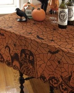 Halloween Table Cloth spider web rectangle halloween tablecloth 60 x 90 Perfectly Scarry Halloween Tablecloths