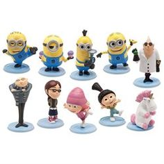 Despicable Me 2 PVC 2 Inch Mini Figure 10-Piece Set [Gru, Dr.Nefario, Margo, Edith, Agnes, Unicorn, Tim, Dave, Tom &Stua (00064442200145) 10 Highly detailed collectible figures with display stands. Including The Minions ? Dave, Tom, Stuart, Tim and Carl; The Girls ? Margo, Edith and Agnes; Gru, Dr. Nefario, Lucy, Eduardo and Antonio, Unicorn.