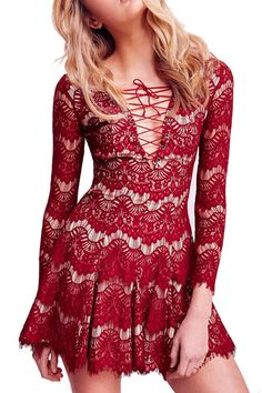 Red Lace, Plunging Neckline, Flare Dress.
