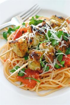 Chicken Spiedini with Roma Tomatoes, Lemon, and Parsley.