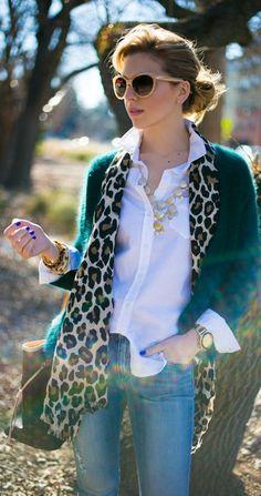 Green Fuzzy + Leopard + Denim