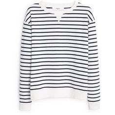 Striped Cotton-Blend Sweatshirt (€27) ❤ liked on Polyvore featuring tops, hoodies, sweatshirts, long sleeve striped top, sweatshirts hoodies, striped sweatshirt, mango tops and sweat shirts