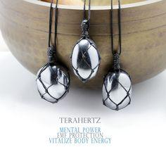 Terahertz pendant necklace, Handmade natural tumbled stone necklace Stone Necklace, Washer Necklace, Beaded Necklace, Pendant Necklace, Tumbled Stones, Natural Shapes, Grey Stone, Stone Pendants, Necklace Lengths