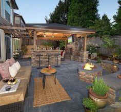 The Happiness of Having Yard Patios – Outdoor Patio Decor Backyard Patio Designs, Pergola Patio, Backyard Landscaping, Pergola Kits, Pergola Ideas, Backyard Ideas, Landscaping Ideas, Cheap Pergola, Back Yard Patio Ideas