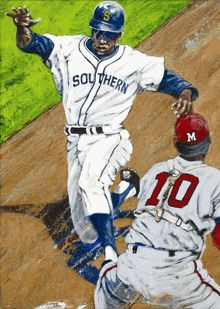 Lou Brock - Southern University | Autographed Fine Art Print by Robert Hurst | adamnfineartist.com | College Baseball Art