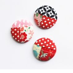 Patchwork buttons are super cute & good way to use some of your tiny scraps.  I wrote a quick blog post with the two things you need to do to make these work if you want to make them yourself. Go to blog.michellepatterns.com to get the info. #patchwork #fabric #sewing #diycrafts #handmade #buttons