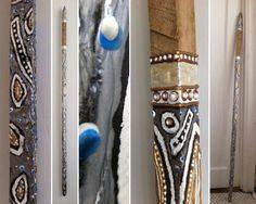 Silver Blue Leaf - Evan Silberman NYC - Painted Tobacco Stick