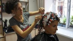 New Perm, Hair Setting, Roller Set, Shaved Head, Curlers, Salons, Curly Hair Styles, Stylists, Hair Beauty