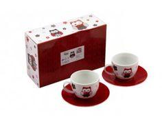 l, sada 4 ks, sova červená Mugs, Tableware, Dinnerware, Tablewares, Mug, Place Settings