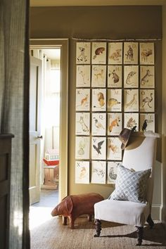 alphabet cards on hooks. Love this. Land of nod sells them. (We have them, really great for educational purposes and as art) :)