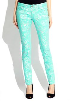 ideeli | contemporary for $29.99 sale    Oh, but wait... to go with the floral print I've been searching for, or admit that this mint patterned denim would probably get more use in my closet? Definitely pinning instead of impulse buying for now.