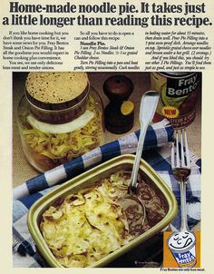 If you ignore the unappealing colouring in this 70s shot, I think the recipe itself for Noodle Pie sounds quite tasty. #noodle #pasta #pie #steak #onions #retro #food #vintage #ad #1970s