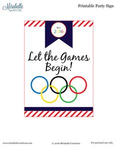 *** FREE PRINTABLES NOW UPDATED FOR 2016 SUMMER OLYMPICS*** Last week, I designed Olympics themed party circles, medals, and a party sign for our family vacation.  We will be on a family vacation during the Olympics, so we are planning an Opening Ceremonies party and games while we are there.  Since these had already been designed, I thought you might want to use them for your party, too! This Olympics Dessert Table is an inexpensive, easy party that