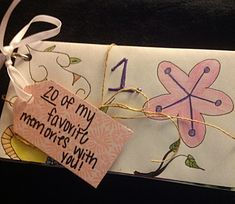 I wrote 20 of my favorite memories with my friend for her 20th birthday. Just get envelopes and write or type your memories and stick them in the envelopes. i punched holes in the envelopes and used a binder clip to keep them all together. Found the idea on pinterest but I put my own little spin on it.