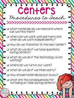 How to make centers work in your classroom. This is a list of procedures to teach!