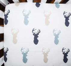 Crib sheet in lue and tan deer heads - fitted crib sheet for baby boys - bedding set for babies or toddlers - fun and modern fabrics