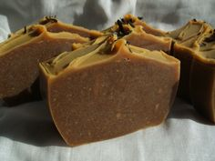 'Carrot & Green Tea' facial bars. Handmade, vegan, palm oil free, cold process soap. Made by The Coventina Soapery, UK.