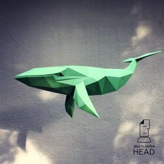 You can make your own whale sculpture! Printable DIY template (PDF) contains 12 pages. Use colored paper. Sizes of sculpture - cm or cm I would rather recommend using If you need another size of finished sculpture, just change print scale and size of Origami Flowers, Origami Art, 3d Paper, Paper Toys, Polygon Art, Origami Dragon, Diy Fan, Colored Paper, Whale