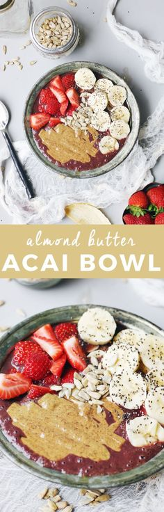 Almond Butter Acai Bowl | acai bowl recipe ideas | homemade acai bowls | how to make an acai bowl | healthy breakfast ideas | breakfast recipe ideas | fresh fruit recipe ideas | homemade healthy break (Homemade Butter Flavored)