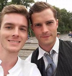 Jamie Dornan and a lucky fan between takes of movie Anthropoid in Prague..Sans tongue :P http://everythingjamiedornan.com/gallery/thumbnails.php?album=67 https://www.facebook.com/everythingjamiedornan/?ref=aymt_homepage_panel
