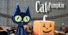 FREE printable cat and pumpkin paper toy for halloween