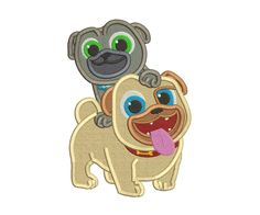 Puppy Dog Pals And Rolly Filled Embroidery Design Applique Designs, Machine Embroidery Designs, Dog Design, Scooby Doo, 4x4, Dogs And Puppies, Etsy Shop, Stitch, Fictional Characters
