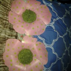 Wall accessories 2 flower wall decor pink with green polkadots  great for anywhere Accessories