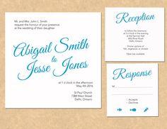 Simple & Modern Blue script font DIY wedding invitations. Print from home