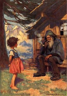 An illustration of Heidi and her grandfather by Jessie Willcox Smith (1863-1935)  I must have read this book 20 times... I dreamt about it for a long time :) Something stirred in my young heart for Heidi's loneliness.