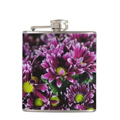 Purple mum flowers in a macro lens photograph.