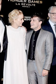 Actress Jennifer Lawrence and Josh Hutcherson attend The Hunger Games: Mockingjay Part 2 Premiere at Le Grand Rex on November 9, 2015 in Paris, France.