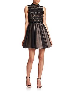 Alice   Olivia Taya Embroidered A-Line Dress