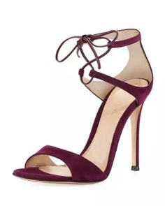 X3MHU Gianvito Rossi Strappy Suede 105mm  Lace-Up Sandal
