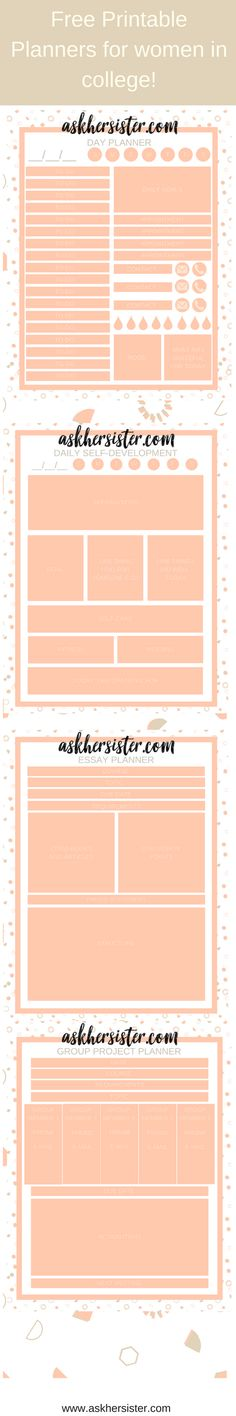 Free printable planners for women in college!