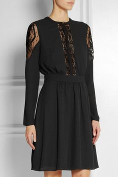 temperley tulle paneled crepe cocktail dress